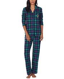 Petite Fleece Notch Collar Pajama Set