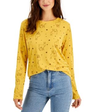 Juniors' Llama Dots Long-Sleeve T-Shirt