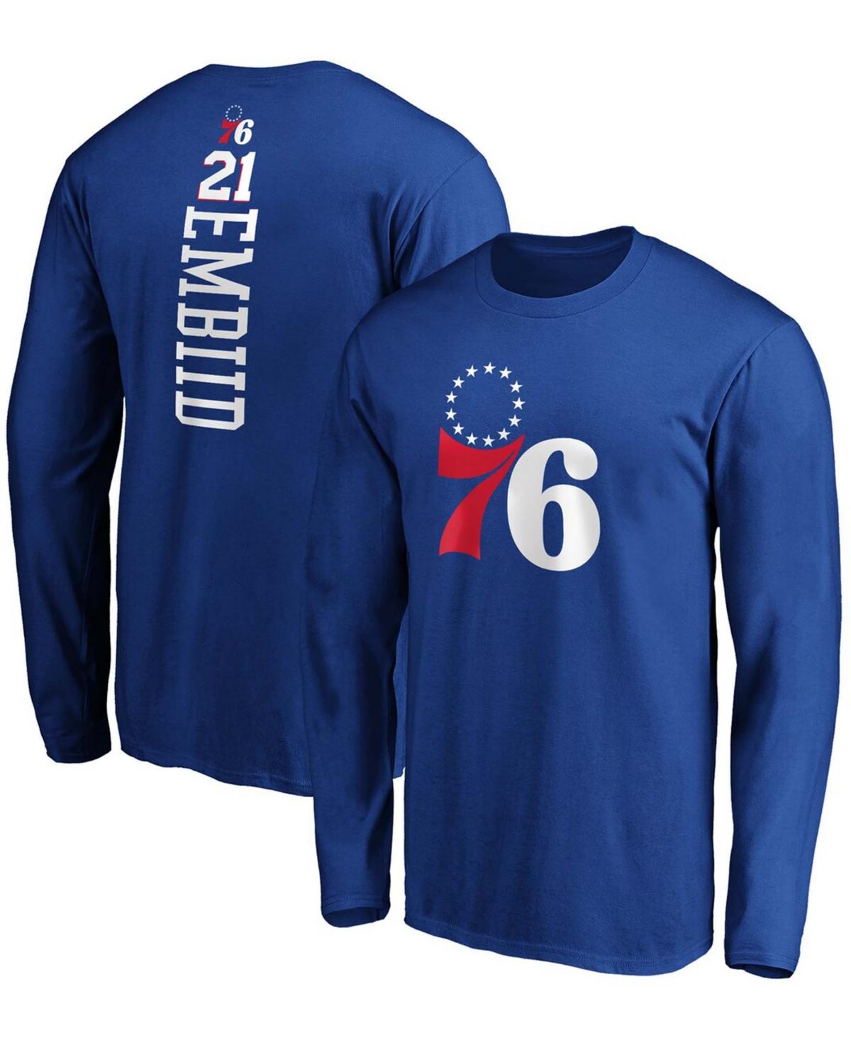 Men's Joel Embiid Royal Philadelphia 76ers Team Playmaker Name and Number Long Sleeve T-shirt