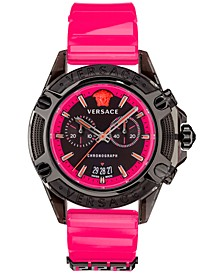 Men's Swiss Chronograph Icon Active Pink Silicone Strap Watch 44mm