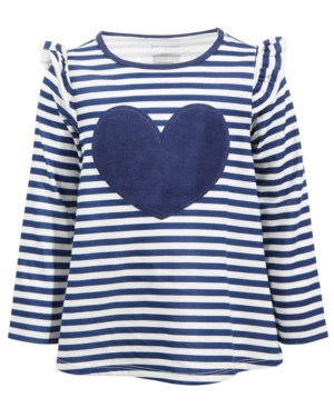 First Impressions Kids' Baby Girls Striped Heart Velour Tunic, Created For Macy's In Multi