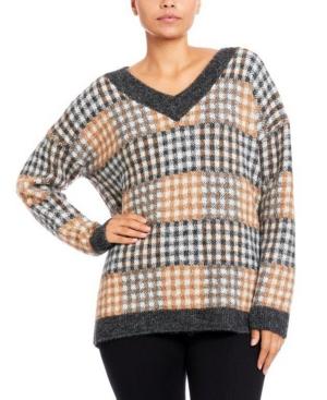 Plaid V-neck Pullover Sweater