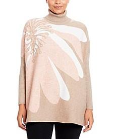 Plaid Turtleneck Poncho Sweater