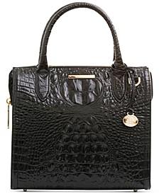 Small Caroline Melbourne Embossed Leather Satchel