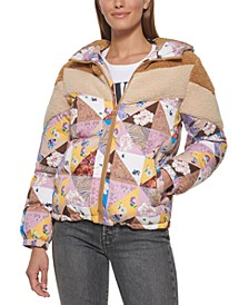 Patchwork Hooded Puffer Coat, Created for Macy's