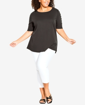 Plus Size Caged Sleeve Top