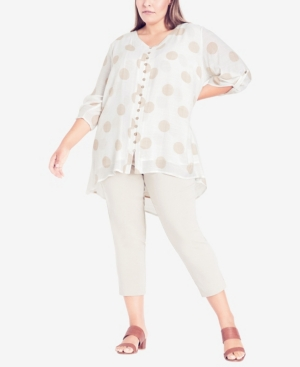 Plus Size Rory Button Print Top