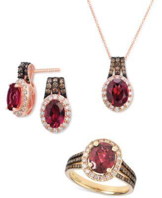 Raspberry Rhodolite (1-5/8 ct. t.w.) & Diamond (3/8 ct. t.w.) Stud Earrings in 14K Rose Gold