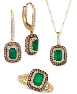 Costa Smeralda Emerald (3/4 ct. t.w.) & Diamond (3/8 ct. t.w.) Halo Ring in 14k Gold