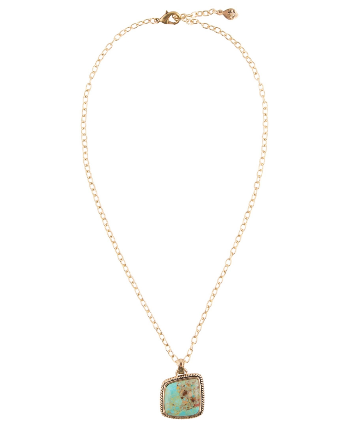 Barse Boulder Bronze and Genuine Turquoise Pendant on Chain Necklace