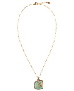 Women's Boulder Bronze and Faux Turquoise Pendant On Chain Necklace