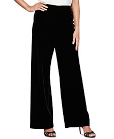 Petite Velvet Flat-Front Pants