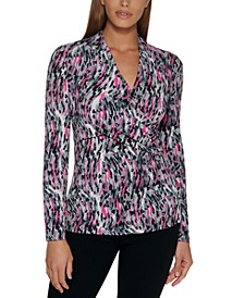 Abstract-Print Side-Ruched Top