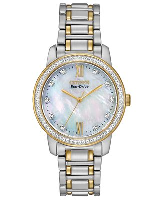 Citizen Women's Eco-Drive Two-Tone Stainless Steel Bracelet Watch 35mm EM0114-51D - A Macy's Exclusive