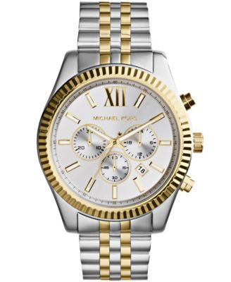 Michael Kors Men\u0026#39;s Chronograph Lexington Two-Tone Stainless Steel Watch 45mm MK8344