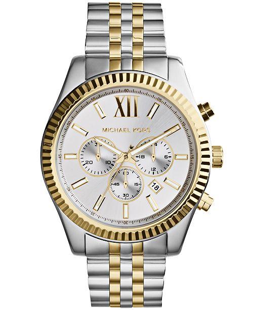 df7a65089a89 ... Michael Kors Men s Chronograph Lexington Two-Tone Stainless Steel Watch  45mm MK8344 ...