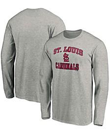 Men's Gray St. Louis Cardinals Heart Soul Long Sleeve T-shirt