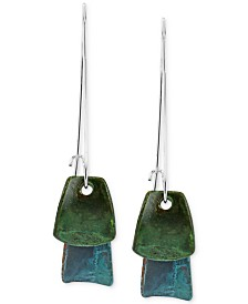 Robert Lee Morris Soho Silver-Tone Blue and Green Layered Patina Drop Earrings