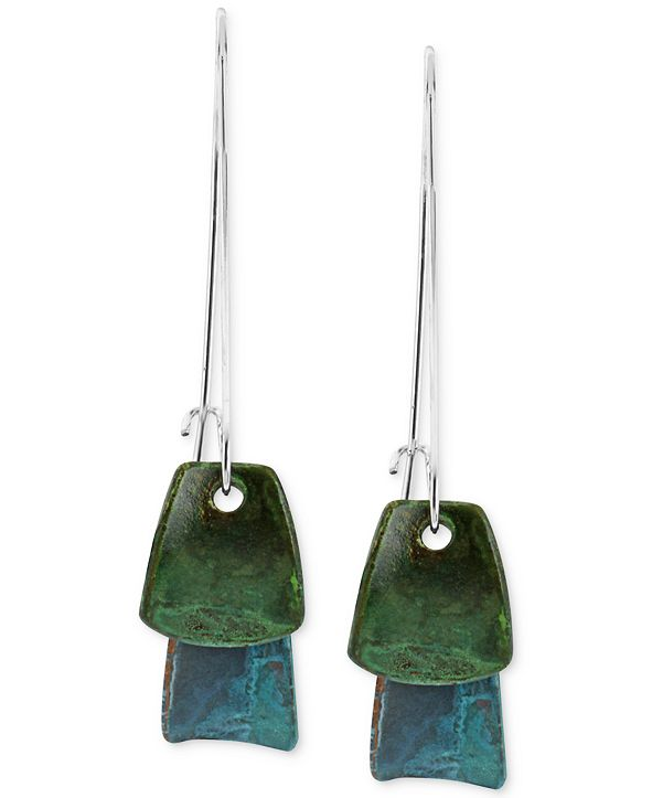 Robert Lee Morris Soho Silver-Tone Blue and Green Layered Patina Drop Earrings