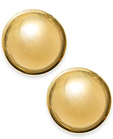 14k Gold Earrings, 12mm Domed Ball Stud Earrings