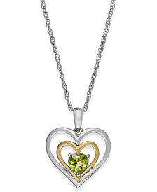 Peridot Heart Pendant Necklace in 14k Gold and Sterling Silver (1/2 ct. t.w.)
