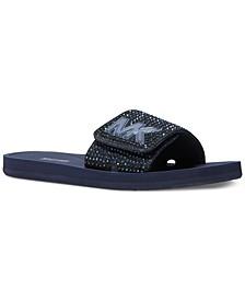 Women's MK Logo Rhinestone Pool Slide Sandals