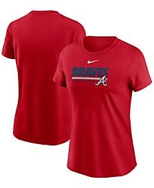 Women's Red Atlanta Braves Baseball T-shirt