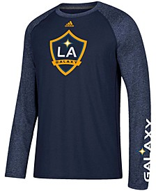 Men's Navy and Heathered Navy LA Galaxy Leave A Mark Performance Long Sleeve Climalite T-shirt