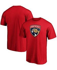 Men's Red Florida Panthers Team Primary Logo T-shirt