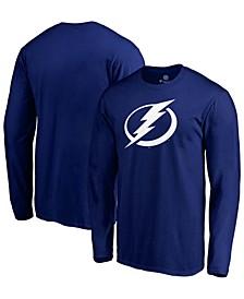 Men's Blue Tampa Bay Lightning Primary Team Logo Long Sleeve T-shirt