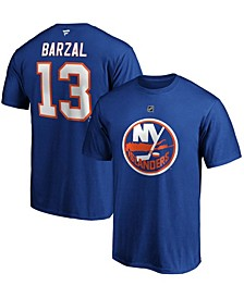 Men's Mathew Barzal Royal New York Islanders Team Authentic Stack Name and Number T-shirt