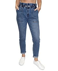 Juniors' Ultra-High-Rise Paperbag-Waist Skinny Jeans