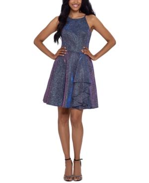 Juniors' Shine Halter Neck Fit & Flare Dress