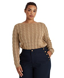 Plus-Size Cable-Knit Cotton-Blend Boatneck Sweater