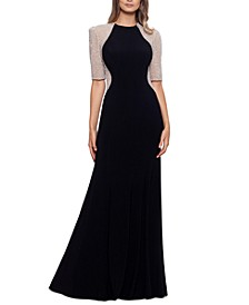 Beaded Colorblocked Gown