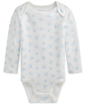 폴로 랄프로렌 Polo Ralph Lauren Baby Boys Bear-Print Cotton Interlock Bodysuit,Blue Multi