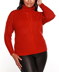 Black Label Plus Size Turtleneck Sweater with Cable Detail
