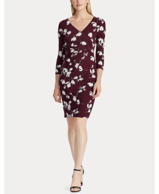 로렌 랄프로렌 Lauren Ralph Lauren Jersey Three-Quarter-Sleeve Dress,Passion Plum/Cream