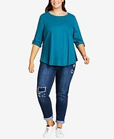 Plus Size Girlfriend Rip Jeans