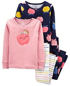 Toddler Girls Apples Snug Fit Cotton Pajama, 4 Piece Set
