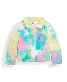 Toddler Girls Tie Dye Faux Fur Jacket