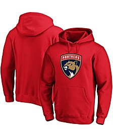 Men's Red Florida Panthers Primary Team Logo Fleece Pullover Hoodie