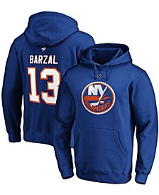 Men's Mathew Barzal Royal New York Islanders Authentic Stack Name and Number Pullover Hoodie