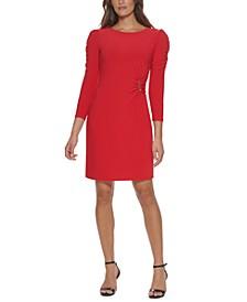 Puff-Shoulder Jersey Dress