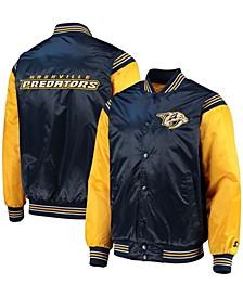 Men's Navy, Gold-Tone Nashville Predators Enforcer Satin Varsity Full-Snap Jacket