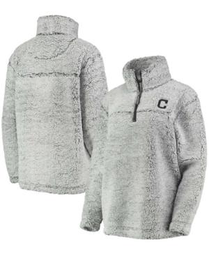 Women's Gray Cleveland Indians Sherpa Quarter-Zip Pullover Jacket