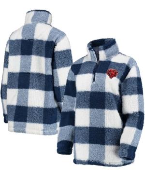 Women's Navy Chicago Bears Sherpa Plaid Quarter-Zip Jacket