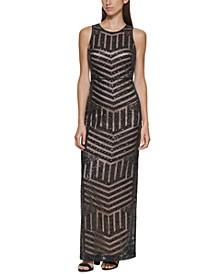 Sequin Slit-Back Dress