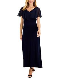 Petite Chiffon-Cape Maxi Dress