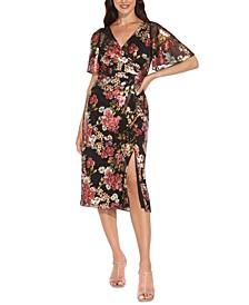 Floral-Print Metallic Flutter-Sleeve Dress